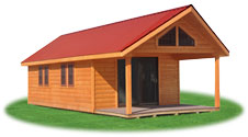 custom peak structure with porch, loft, metal roof, and sliding doors