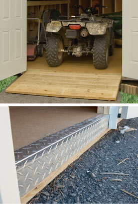 Pine Creek Structures storage shed options including wood ramps and diamond tread plate
